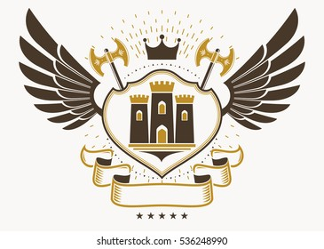 Heraldic coat of arms made in retro design, decorative emblem with wings, hatchets and medieval fortress