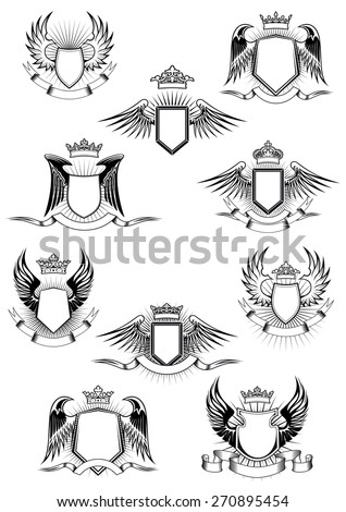 heraldic coat arms templates medieval winged stock vector royalty