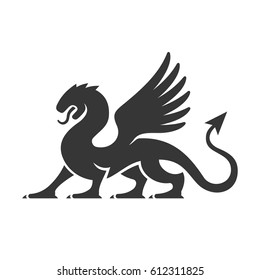 Heraldic Dragon Silhouette Logo on White background. Vector
