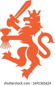 Heraldic Dutch Lion Emblem (Orange)