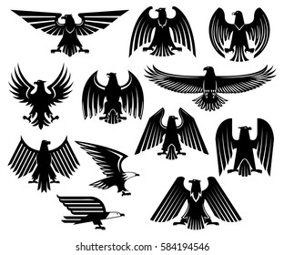 Heraldic eagle icons set of griffin or vulture black bird. Isolated emblem of royal imperial or gothic hawk or falcon heraldry symbol with spread wings for military crest or blazon, coat of arms
