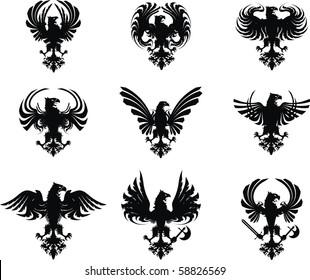 heraldic eagle set in vector format