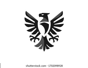 heraldic eagle symbol or falcon bird isolated emblem. Military heraldry sign