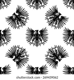 Heraldic eagles seamless pattern with silhouettes of royalty hawks on white background for medieval interior design