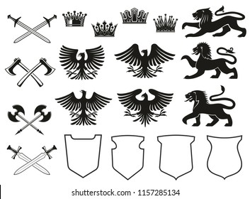 Heraldic element set of bird, animal and crown, medieval shield and crossed sword. Eagle, lion and vintage royal crown, falcon, hawk and battle axe black icon for coat of arms and heraldry design