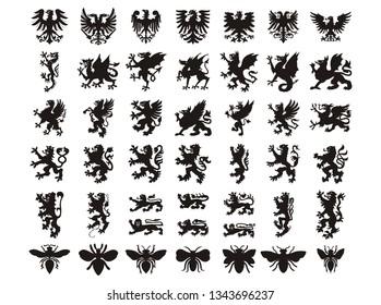 Heraldic elements animals set. Vector