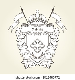 Heraldic emblem - royal coat of arms with imperial symbols, shield and crown