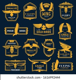 Heraldic golden eagle and hawk icons, business corporate identity signs. Vector hawk and eagle head and wings heraldry, aviation academy, fight club and soccer league, law and security brand symbol