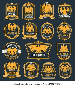 Heraldic golden eagle icons, heraldry hawk bird with crown and ribbon badges. Vector premium fight club, soccer sport team or liberty academy and law firm or flying school corporate identity symbols