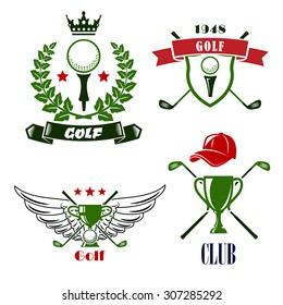 Heraldic golf club or tournament emblems with balls on tees framed by heraldic shield, ribbon banners, laurel wreath and trophy cups, crossed clubs, decorated stars, crown, wings and cap