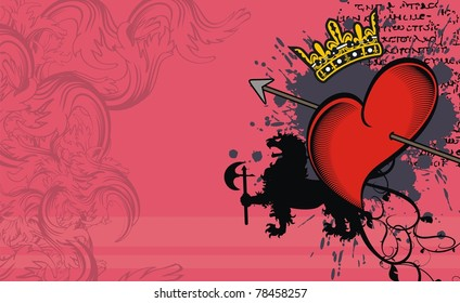 heraldic heart background in vector format