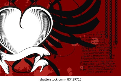 heraldic heart black background in vector format
