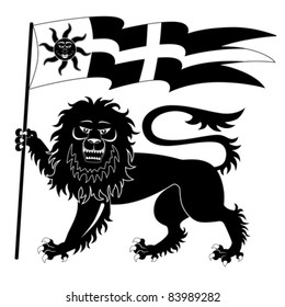 Heraldic lion with banner isolated on white background