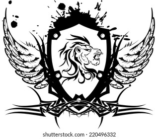 heraldic lion head coat of arms tattoo tshirt in vector format very easy to edit
