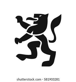 Heraldic lion in a modern style, black shape vector illustration on white background