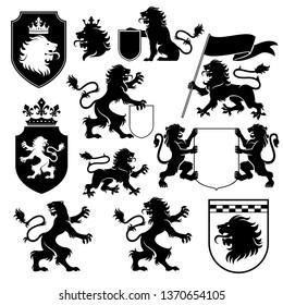 heraldic lion silhouette set