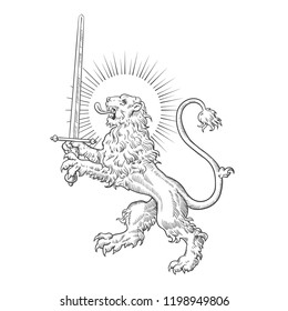 Heraldic lion with sword on white background