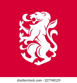 Heraldic lion. Vector flat vintage design template elements for your application or corporate identity.