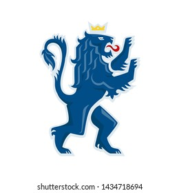 Heraldic lion. Vector illustration of a Royal lion standing on its hind legs.