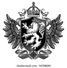 Heraldic Lion Wing Crest