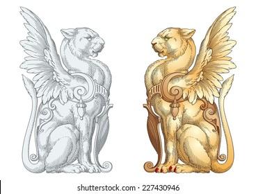 Heraldic Lioness Vector