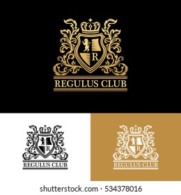 Heraldic logo template. Vintage ornamental emblem with lion, monogram, crown symbols and flourish decorations. Three color variants.