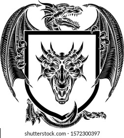 A heraldic medieval coat of arms crest emblem featuring dragon and shield.