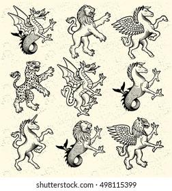 Heraldic Monsters. Vector Illustration.