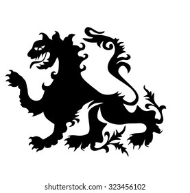 heraldic rampant lion, for a coat of arms