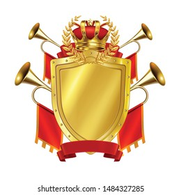 Heraldic realistic design concept with golden shield crown and king fanfares decorates by red flags vector illustration