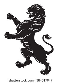 Heraldic roaring lion black isolated on white background vector