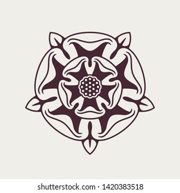 Heraldic Rose Vector Monochrome Element