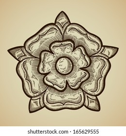 Heraldic rose. Vintage decorative element. Isolated object.