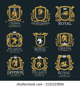 Heraldic royal coat of arms and heraldry signs set of Pegasus horse, Griffin bird or animal with golden crowns and stars. Vector isolated heraldic badges of mystic creatures in ornate shields