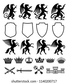 Heraldic royal coat of arms and heraldry signs constructor of Pegasus horse, Griffin bird or animal with shield, crowns and stars. Vector isolated heraldic badges of ornate keys, sword and castles