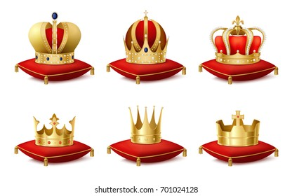 Heraldic royal crowns on cushions realistic set isolated vector illustration