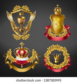 Heraldic royal emblems with golden monarch crowns, shield, laurel branches wreath, ribbon, goblet and sword isolated on transparent background. Medieval king signs. Realistic 3d vector illustration.