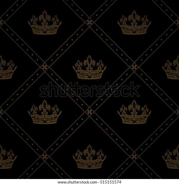 Heraldic Seamless Pattern Golden Corona Ornament Stock Vector Royalty Free 515151574