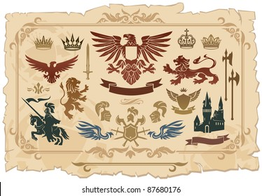 Heraldic set of lions, eagles, crowns and shields drawings