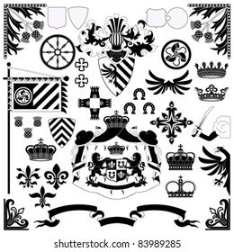 Heraldic set for your design projects isolated on white background
