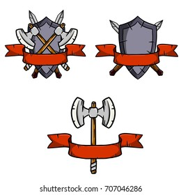 heraldic shield with crossed axes and swords red ribbon cartoon