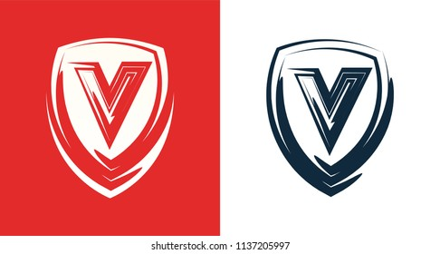 Heraldic shield emblem with letter V. Clipart for Company or Club with same suitable Name. Vector illustration isolated on white and light version on red background.