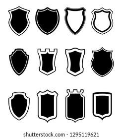 Heraldic shield shapes collection. Crests silhouettes for signs, logos, emblems and symbols  of safety, security, military or  other heraldy.