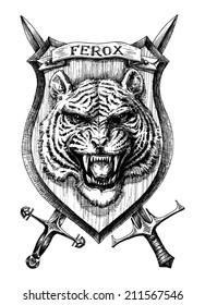 Heraldic shield tiger head, detailed hand drawn vector