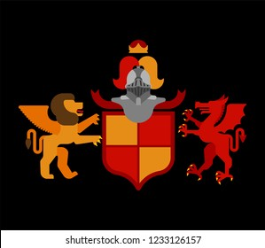 Heraldic Shield Winged Lion and Dragon and Knight Helmet. Fantastic Beasts. Template heraldry design element. Coat of arms of royal family