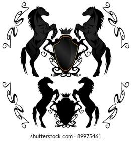 heraldic shields with black stallions - vector illustration