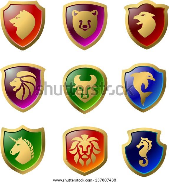 Heraldic Shields Heraldic Symbols Animals Icon Stock Vector