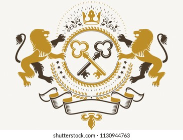 Heraldic sign created using vector elements, heraldry insignia composed with wild lion illustration, security keys and monarch crown.