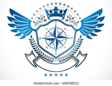 Heraldic sign created using vector elements, heraldry winged emblem composed using royal crown and navigation compass.