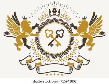 Heraldic sign created with vector elements, heraldry insignia composed with mythology gryphon, crossed keys and monarch crown.